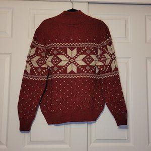 American Eagle Nordic Snowflake Sweater Button Collar Ski Snow Winter L